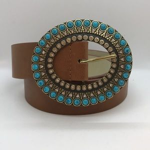 Chico's brown leather belt - massive beaded buckle